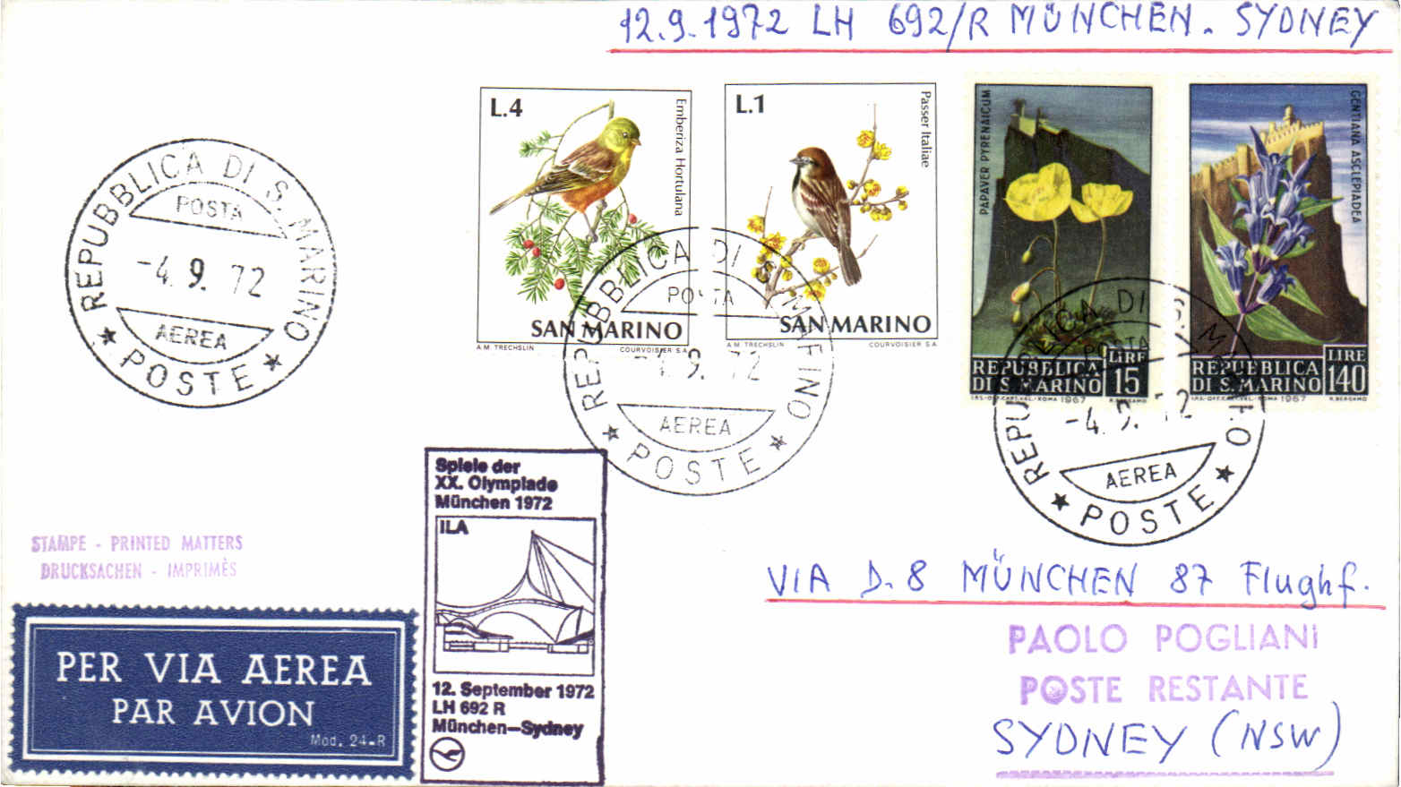 Archive country airmail collector for Flights to san marino italy