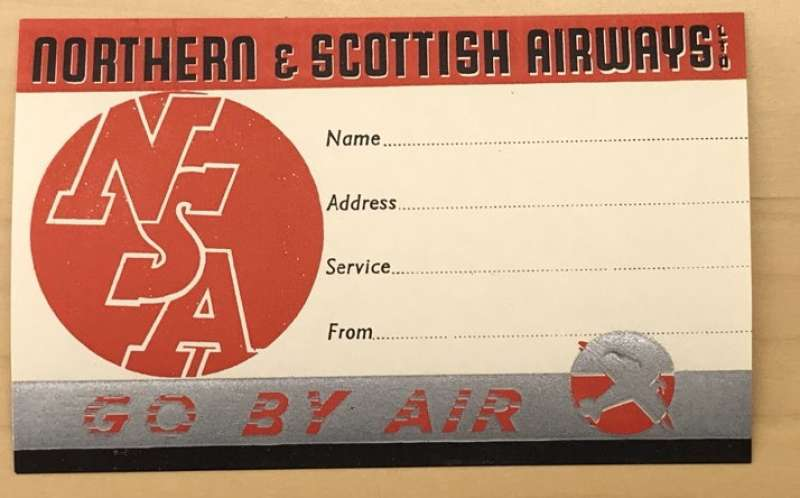 (Ephemera) Northern and Scottish Airways, scarce baggage label. A small historic Scottish airline which began life as Northern Airways and started the Newcastle-Carlisle-Isle of Man service on 1/7/19345. On 1/1/1935 restarted the old Midland and Scottish route of Glasgow-Campbeltown-Islay service,  and began their own service from Blackpool to the Isle of Man to London.