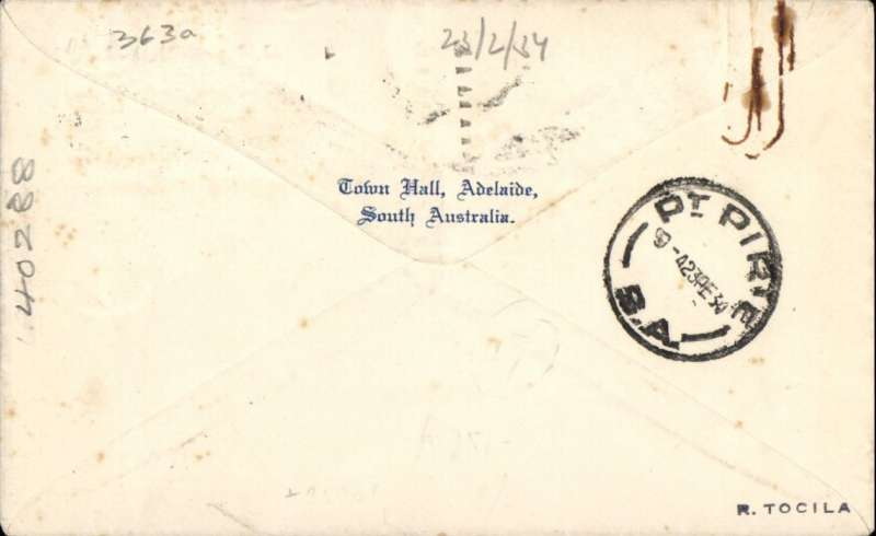 (Australia) MacRobertson-Miller Aviation Co, F/F Adelaide to Port Pirie, bs 23/2, scarce cover addressed to Officer in Charge, Local Police Station, franked 6d canc Pirie cds. Likely as few as 20 flown. Few small tine spots, see scan.