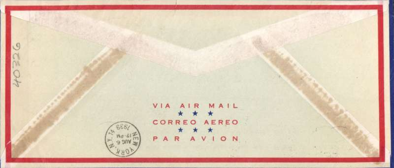 (GB External) F/F IAW London to New York, bs 6/8, franked 1/3d, SCARCE PAN AM SOUVENIR COVER celebrating the British Imperial Airways  first flight. Closed 1cm top edge nick, see scan. Does not detract, see scan.