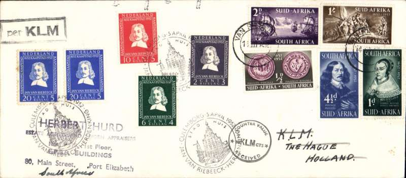 (South Africa) South Africa to Netherlands and return, cover flown by KLM, franked FDI SA Van Riebeek set canc special 'Van Riebeek' cds, and FDI Netherlands 'Van Riebeek' set canc special Culemborg cds.