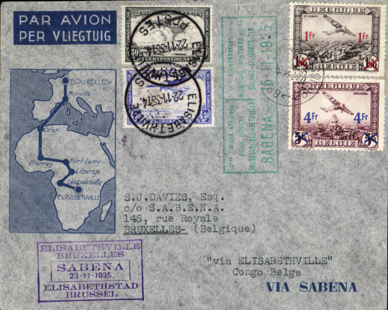 (Belgium) Sabena, Brussels to Elizabethville, bs 21/11 and return  to Brussels, bs 29/11, carried on F/F Brussels-Leopoldville extension to Elizabethville service, blue/grey Sabena souvenir cover with map of route, franked 5F Belgium stamps, canc Bruxelles 15/11 cds, and 5F Congo stamp, canc Elizabethville 22/11 cds, green framed outward and purple framed inward flight cachets.