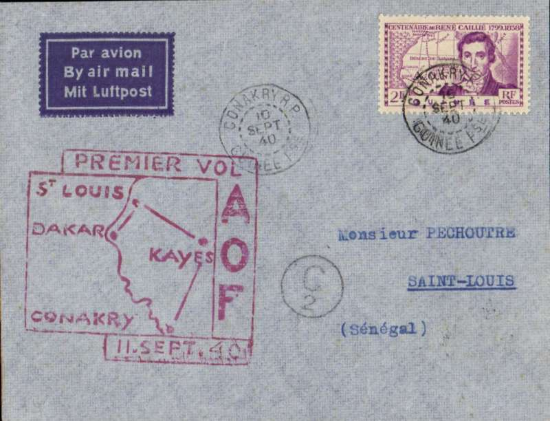 (French Guinea) Censored F/F Conakry to Saint Louis, Senegal, bs, large red framed flight cachet.