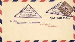 (Ecuador) Military flight from Quito to Otavalo, b/s 1/1, purple triangular cachet, circular Otavalo b/s, airmail cover, only a few flown, Army circular flight among five cities.
