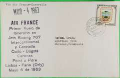 "(Ecuador) F/F Quito to Caracas, black twelve line cachet, typed endorsement ""Via Air France Caravelle"", b/s, Air France"