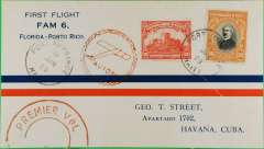 (Haiti) F/F FAM 6  Port au Prince to Havana, red double ring Premier Vol and red circular Avion cachets, b/s, official cover with printed route map verso, Pan Am,