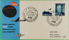 (Norway) F/F Great Circle Route, Oslo to Los Angeles, cachet ds, b/s, sp cover, SAS