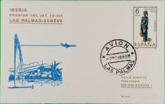 (Spain) F/F  Las Palmas to Geneva, b/s, official cover, Iberia