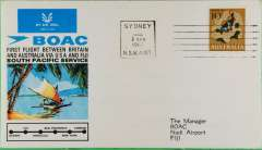 (Australia) F/F, Sydney to Fiji, official cover, b/s, BOAC
