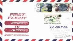 (United States) First flight, Miami to Quito, FC, b/s, airmail cover,  Braniff, 388 Flown