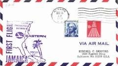 (United States) F/F FAM 33, Newark to Montego Bay, cachet, b/s,  Eastern Airlines,