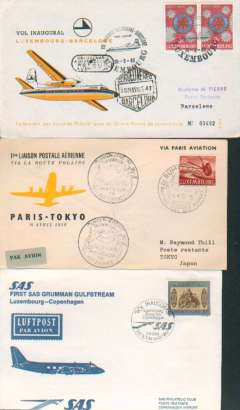 (Luxembourg) F/F, to Barcelona from Luxembourg, cachet, illustrated cover, b/s, Luxair