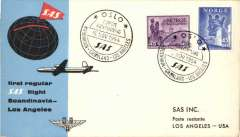 (Norway) SAS F/F, Oslo to Los Angeles, cachet, b/s, official cover.