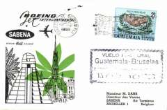 (Guatemala) F/F, Guatemala City to Brussels, cachet, b/s, official cover, Sabena