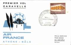 (Greece) First Caravelle Flight, Athens to Basle, official printed cover, b/s, Air France