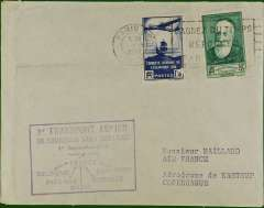 (France) First airmail without air fee, Paris to Copenhagen, cachet, b/s.