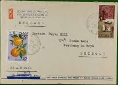 """(Vietnam) Commercial air cover from the Captain of the Polish vessel """"Mareli Nowotko"""" to Captain Hill, Bristol, no b/s, franked 50, canc Haiphong cds, printed Polish ocean Lines cover."""