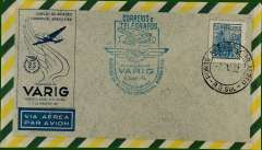 (Brazil) 25th anniversary F/F Puerto Alegre to Rio, blue cachet, b/s, printed company cover, unaddressed, VARIG