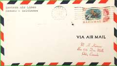 "(Bahamas) Scarce F/F FAM 33, Nassau to Baltimore, no cachet, no bs, air cover, Eastern Airlines. It is reported that none of the 19 covers actually flown were back stamped by the Baltimore PM because ""no proper cachet had been used"". Only 19 flown."