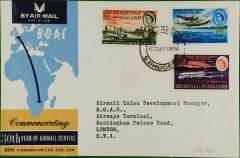 (Rhodesia and Nyasaland) 30th anniversary Salisbury to London, arrival ds, company cover, BOAC
