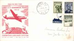 (Norway) F/F FAM 24, Oslo to New York, b/s, illus company cover, American Overseas Airlines