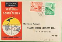 (Mauritius) F/F Port Louis to Sydney leg of First Regular Australia-South Africa Service, b/s, souvenir cover, Qantas