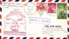 (United States) 20th anniversary Pan Am Foreign Airmail Service, Key West to Havana, magenta cachet front, blue cachet verso, b/s