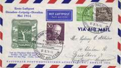 (Germany) Flown cover commemorating 1st German airmail from Dresden-Leipzig and return, special depart cachet, souvenir cover.