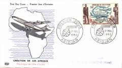 "(French Ivory Coastt) Illustrated FDC franked 50f marking ""Creation of Air Afrique"", special canc Abijan"