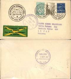 "(Brazil) Joint Condor-LAB F/F, Rio de Janeiro to La Paz, fr 2000R am + 300R NPR, black double circle flight cachet, arrival ds's front and verso, attractive 1927 ""Coreo Aereo/Condor"" yellow cross etiquette, Condor/Lloyd Aereo Boliviano"