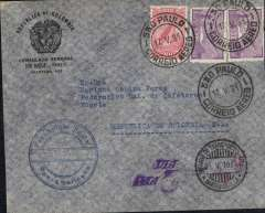 (Brazil) Consular mail to Bogota, bs 25/5, via Barranqilla 24/5, Rep Colombia consular corner cover, fr 6200R (airmail fee only), circular Franquia (exempt postage) postal cachet, rect purple boxed Via Panair cachet verso, unframed winged Via PAA on front. Flown FAM 10-6 to PO Spain, then FAM 5 to Barranquilla, then Scadta to Bogota. Nice item.