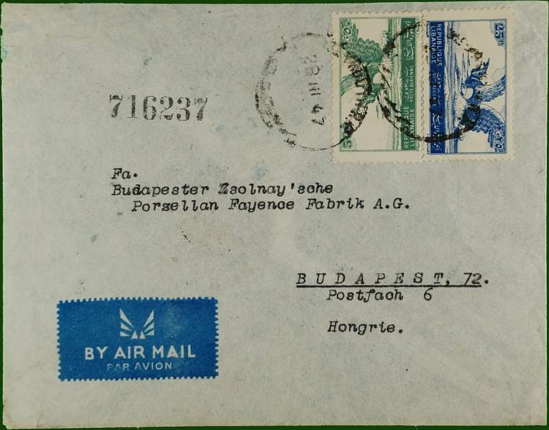(Lebanon) Lebanon to Hungary, early post WWII flown commercial etiquette cover to Budapest, bs 8/4, franked 30p canc Beyrouth single ring cds.