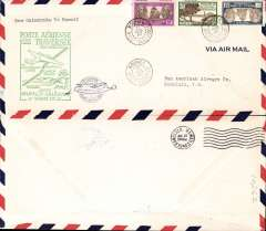 (New Caledonia) F/F FAM 19  Noumea to Honolulu, green cachet, b/s, air cover, 11x21cm, Pan Am