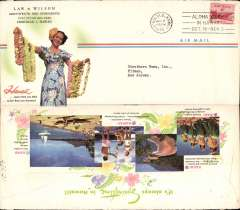 """(Hawaii) Honolulu to New Jersey, no arrival ds, franked 6c, Law and Wilson corner cover, 10x21cm, advertising """"Springtime in Hawaii"""" with colour illustrations front and verso."""
