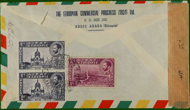 "(Ethiopia) Imprint etiquette air cover to Vienna, no arrival ds, franked 60c canc Addis Ababa dr. cds, sealed brown tape, also violet ""Osterrieichhische zensurestelle/857/z1"" circular currency control mark."