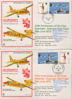 (Channel Is) Two souvenir company covers, 30th anniversary first mail flight Guernsey to Alderney, and Alderney to Guernsey, b/s, Aurigny Air Services