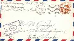 "(US army post offices) World War II censored cover flown from Aquadilla, Puerto Rico, 6c PSE airmail cover cancelled by unique identifier ds ""US Army Postal Service/ APO 845"", signed and ""Passed by Army Examiner/01047"" hs."