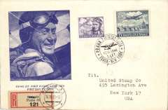 (Czechoslovakia) F/F FAM 18  Prague to New York, cachet ds, b/s, illustrated souvenir cover with picture of pilot.