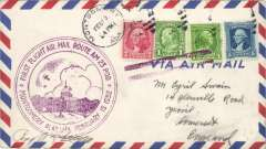 (United States) Montgomery to England, no arrival ds, carried on the F/F Atlanta-New Orleans service, flight cachet, franked 9c, then on to New York where stamps cancelled by Varick St magenta double bar Jusqu'a, then surface to UK.