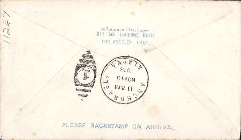 """(Alaska) Emergency mail service from Bethel to Anchorage, bs 132/11, green two line """"Emergency mail service/via Airplane from/ (ms) Bethel to Anchorage, signed by the pilot W.T.Justland."""