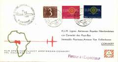 (Netherlands) F/F Amsterdam to Conakry, cachet, b/s, souvenir company cover, KLM.