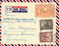"(Haiti) Imprint etiquette airmail cover to Germany, no arrival ds, franked 1.55G canc Port au Prince cds, fine strike uncommon blue ""Jusqu'en Gde Bretagne"" Jusqu'a."