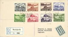 (Iceland) Registered (label) air cover, Reykjavik to England, no arrival ds, franked FDI Views set of 8, inc 60a green.