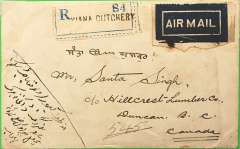 (Canada) Canada acceptance from India, early commercial air cover to Duncan BC, bs 6/1/30, via Vancouver 4/1/30, likely carried on the new European timetable of the India service introduced early Dec 1930 (all train service from Athens-London), see Wingent p29, franked 11a verso canc Ludhiana Cutchery (300 km north of Delhi), India airmail etiquette, Imperial Airways. Uncommon origin/destination.