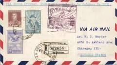 (Argentina) NYRBA F/F, Buenos Aires to Miami, bs 26/7,and on to Chicago 1/3, purple flight cachet, registered (label) airmail cover.
