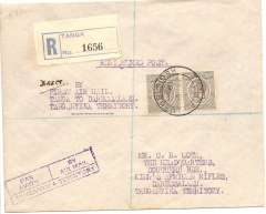 """(Tanganyika) Tanganyka Govt Air Service, return of the First Direct Internal Flight, registered cover with Tanga regn label, Tanga to Dar es Salaam, bs 26/12, boxed violet """"Par Avion/By Airmail/ Tanganyka Territory"""" hs (P 9 McQueen), violet ms/typed endorsement ms """"Direct"""" typed """"By First Air Mail Tanga to Dar es Salaam. Tanganyka Territtory"""", franked pair Tanganyika 1927 50c.. Only 50 flown in total (Colley p47)."""