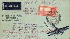(India) F/F Bombay to Rajkot, red boxed cachet, b/s 22/11, souvenir company cover, Air Services of India
