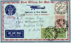"""(Australia) Melbourne to Lae, b/s 27/7, flown by Ulm in """"Faith of Australia"""", Australia cachet, franked 8d Australia stamps (inc SG 139), also 3d NG stamps canc 27/7, and Salamau 31/7, par avion etiquette, illustrated souvenir cover with photo with technical details verso and corner insert of Commander CPT Ulm."""