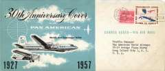 (Cuba) 30th anniversary Key West to Havana, attractive black/white/pale blue souvenir cover, 10x24cm, b/s, Pan Am