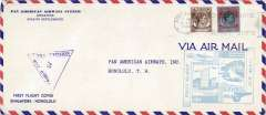 (Singapore) F/F FAM 14, Singapore to Honolulu, cachet, b/s, violet triangular Singapore censor mark, official long cover, Pan Am.